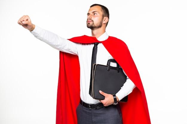 Jonge zakenman held met vuist omhoog geïsoleerd op een witte achtergrond