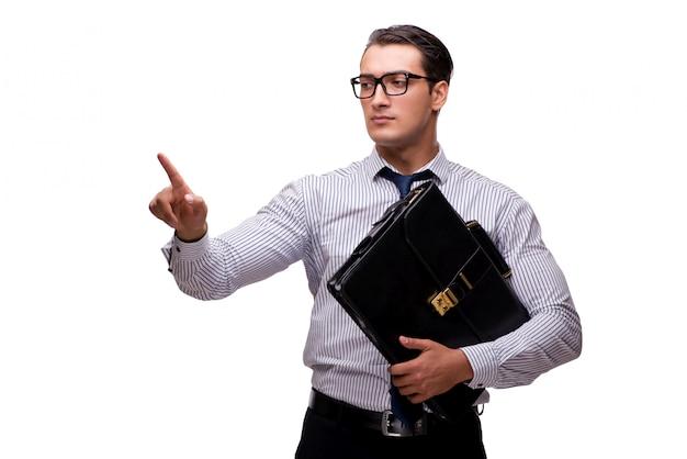 Jonge zakenman in bedrijfsconcept dat op wit wordt geïsoleerd