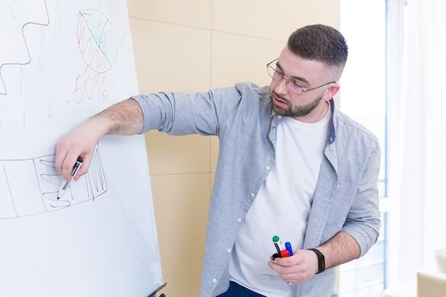 Jonge zakenman in casual kleding online vergadering presentatie of training met behulp van een laptop-webcam en een flip-over met markeringen
