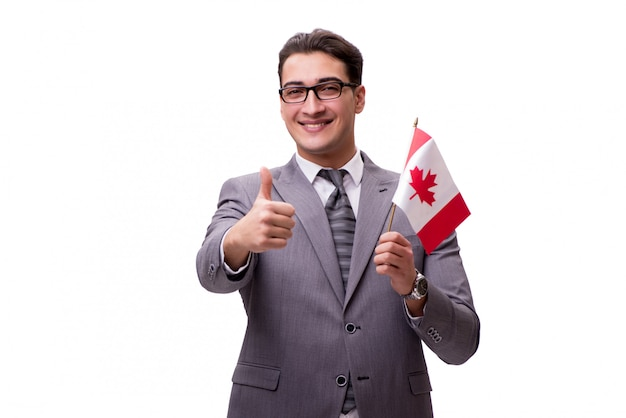 Jonge zakenman met vlag die op wit wordt geïsoleerd