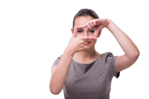 Jonge zakenvrouw hand in hand in frame vorm