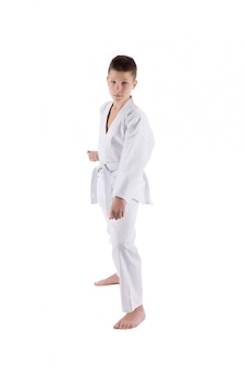 Jongen het stellen met karatetechnieken op geïsoleerd wit