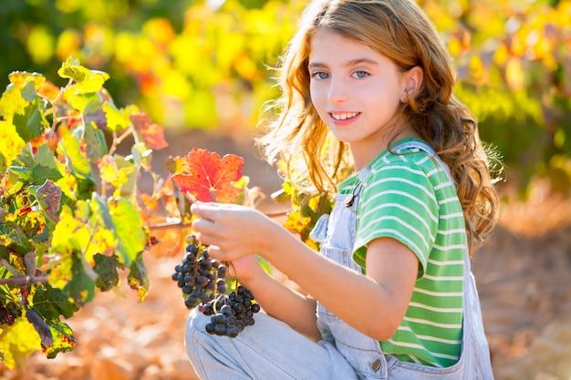 Jongen meisje glimlachend herfst wijngaard veld bedrijf druiven bos