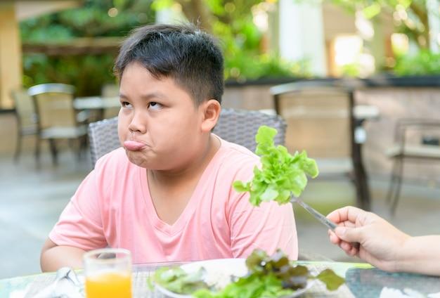 Jongen met uitdrukking van afschuw tegen groenten