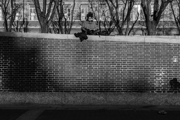 Jongen zit op een bakstenen muur en leest een boek
