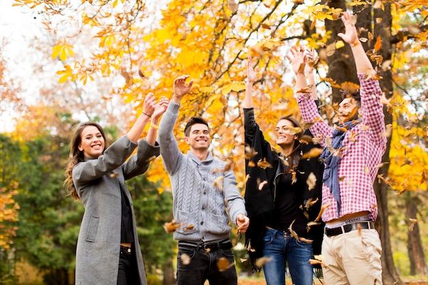 Jongeren in de herfstpark