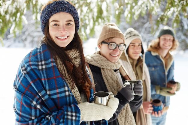 Jongeren op wintervakantie