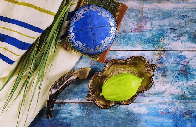 Joods ritueel festival van soekot in het joodse religieuze symbool etrog, lulav, hadas, arava tallit biddend boek keppel en shofar