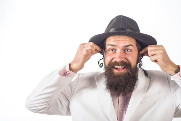 Joodse man bebaarde joodse man portret bebaarde orthodoxe joodse man purim zakelijke zakenman