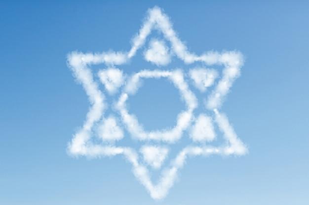 Joodse ster uit de wolken in de blauwe lucht
