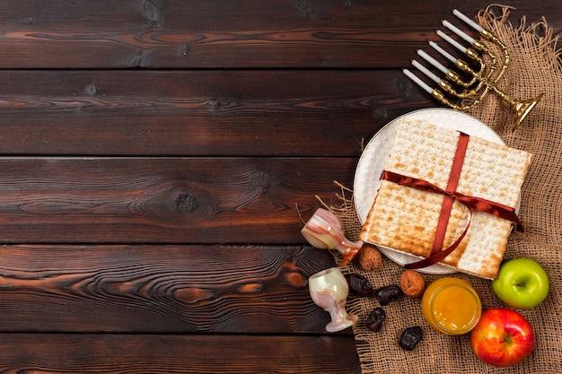 Joodse vakantie pascha tafel met wijn