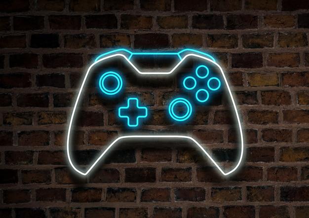 Joystick of gamepad, neonteken op een bakstenen muurachtergrond. computer games concept, toernooi.
