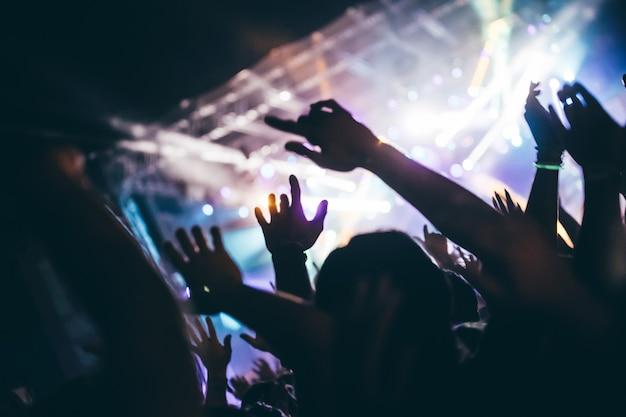 Juichende gelukkige menigte bij concert genieten van muziekuitvoeringen