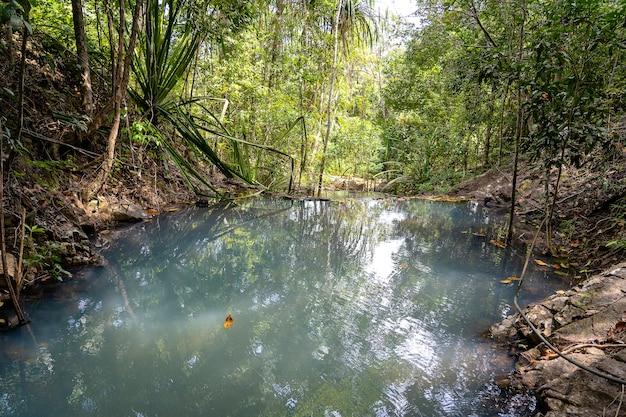 Jungle landschap met stromend turquoise water van cascade waterval in diep tropisch regenwoud. eiland koh phangan, thailand