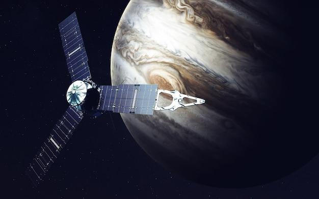 Juno ruimtevaartuig en jupiter