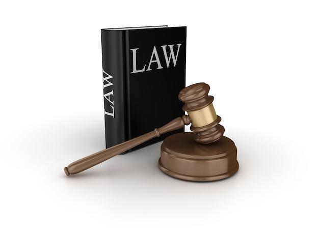 Juridische hamer met wetboek