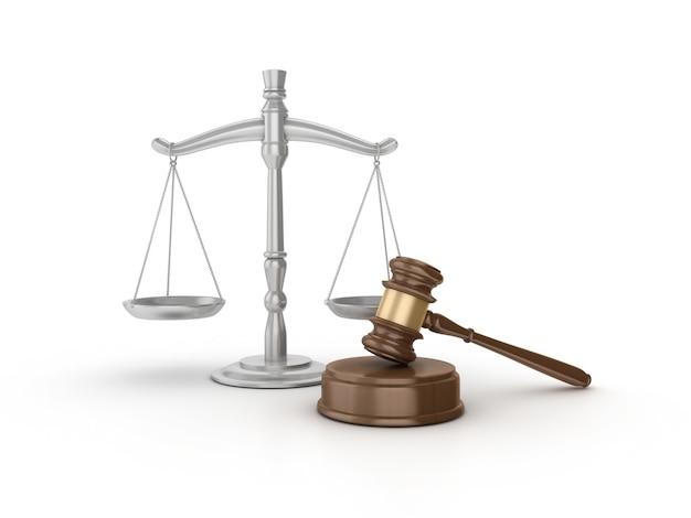 Juridische voorzittershamer met weegschaal