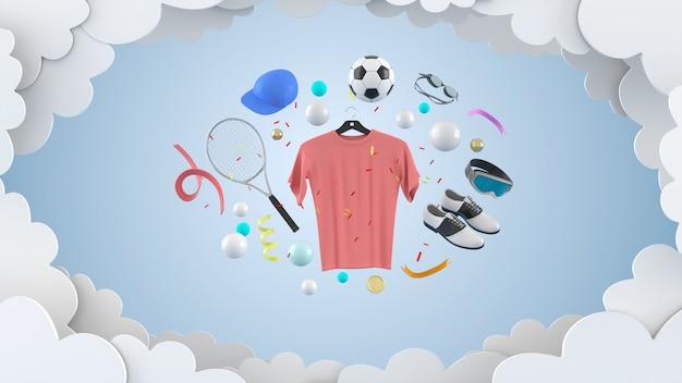Jurken, broeken, sweatshirts, hoeden, portemonnees, hoge hakken en zonnebrillen tussen kleurrijke ballen op een roze muur-3d-weergave.