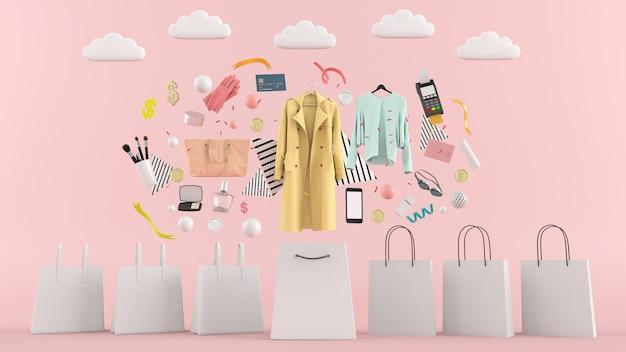 Jurken, broeken, sweatshirts, hoeden, portemonnees, hoge hakken en zonnebrillen tussen kleurrijke ballen