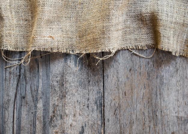 Jute en houten textuurachtergrond