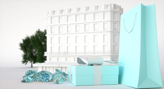 Juweliergebouw, huidige doos en papieren zak, edelstenen en diamanten. 3d-afbeelding