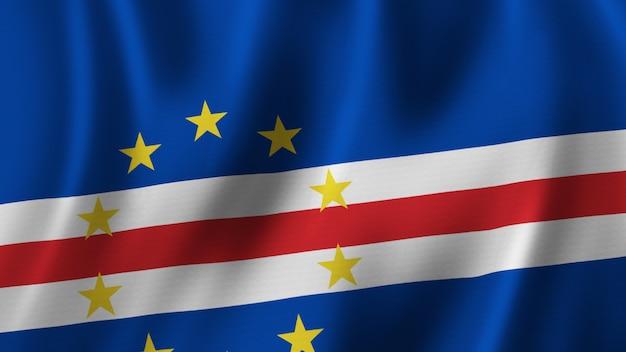 Kaapverdische vlag zwaaien close-up 3d-rendering met afbeelding van hoge kwaliteit met stof textuur