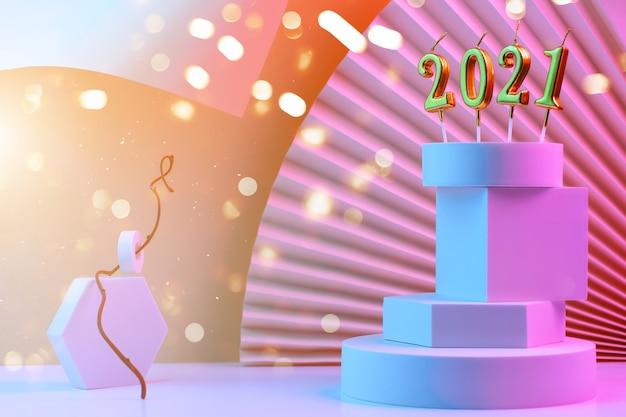 Kaarsen met figuren van het nieuwe jaar 2021 op de piramide van geometrische vormen