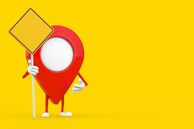 Kaart aanwijzer pin karakter mascotte en gele verkeersbord met vrije ruimte voor jou ontwerp op een gele achtergrond. 3d-rendering
