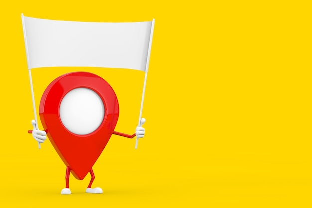 Kaart aanwijzer pin karakter mascotte en lege witte lege banner met vrije ruimte voor uw ontwerp op een gele achtergrond. 3d-rendering