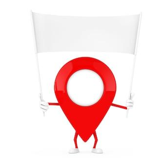 Kaart aanwijzer pin karakter mascotte en lege witte lege banner met vrije ruimte voor uw ontwerp op een witte achtergrond. 3d-rendering