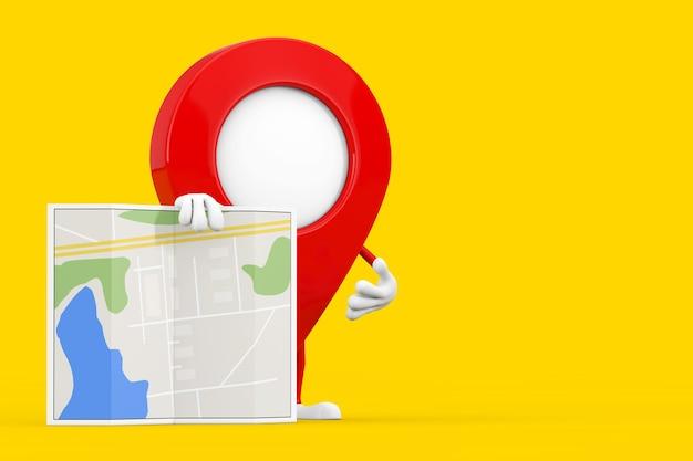 Kaart aanwijzer pin karakter mascotte met abstracte plan kaart op een gele achtergrond. 3d-rendering
