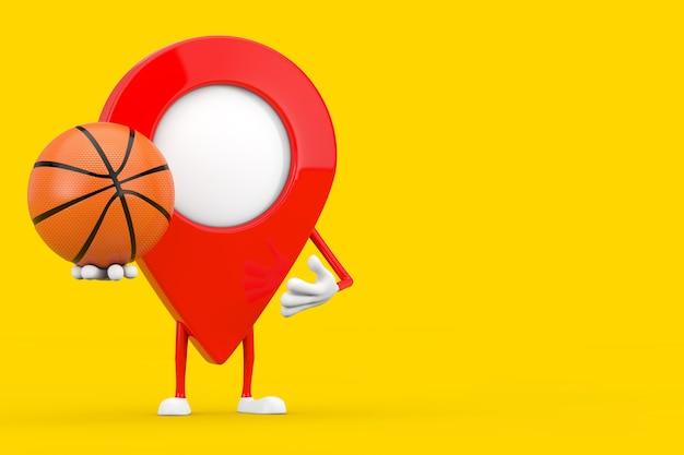 Kaart aanwijzer pin karakter mascotte met basketbal bal op een gele achtergrond. 3d-rendering