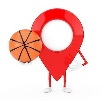 Kaart aanwijzer pin karakter mascotte met basketbal bal op een witte achtergrond. 3d-rendering