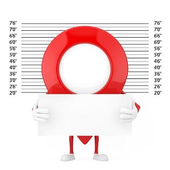 Kaart aanwijzer pin karakter mascotte met identificatie plaat voor politie line-up of mugshot achtergrond extreme close-up. 3d-rendering