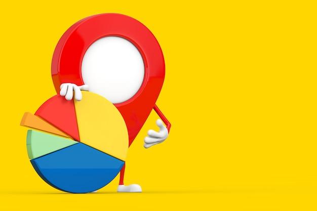 Kaart aanwijzer pin karakter mascotte met info graphics business cirkeldiagram op een gele achtergrond. 3d-rendering