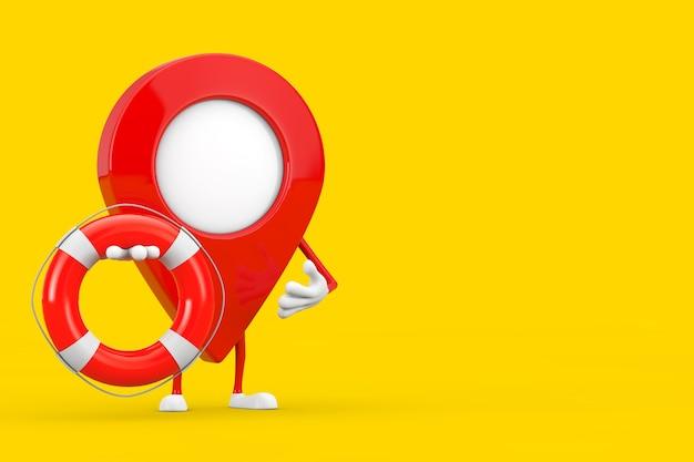 Kaart aanwijzer pin karakter mascotte met reddingsboei op een gele achtergrond. 3d-rendering