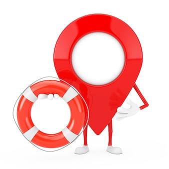 Kaart aanwijzer pin karakter mascotte met reddingsboei op een witte achtergrond. 3d-rendering