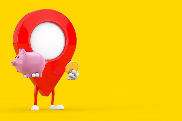 Kaart aanwijzer pin karakter mascotte met spaarvarken en gouden dollar munt op een gele achtergrond. 3d-rendering