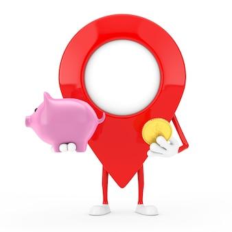 Kaart aanwijzer pin karakter mascotte met spaarvarken en gouden dollar munt op een witte achtergrond. 3d-rendering