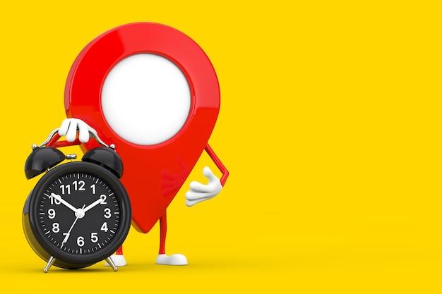 Kaart aanwijzer pin karakter mascotte met wekker op een witte achtergrond. 3d-rendering