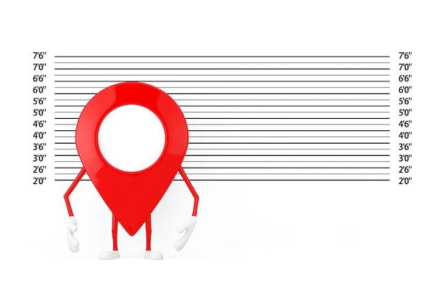 Kaart aanwijzer pin karakter mascotte voor politie line-up of mugshot achtergrond extreme close-up. 3d-rendering