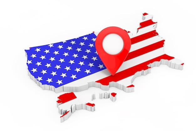 Kaart aanwijzer pin over usa kaart met de vlag van de verenigde staten van amerika op een witte achtergrond. 3d-rendering