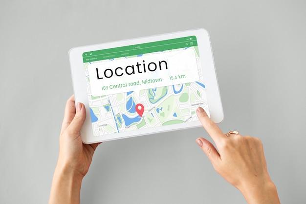 Kaart gps locatie richting positie grafisch