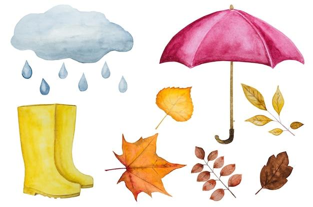Kaart met diverse tekeningen over het herfstthema