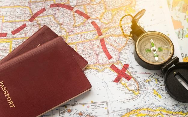 Kaart met gemarkeerde bestemming