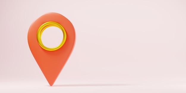 Kaart pinpoint symbool plaats locatie ontwerp stijl modern pictogram 3d-rendering illustratie