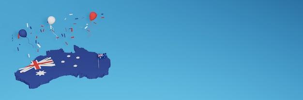 Kaart van australië voor sociale media en achtergrondomslagen voor websites om de nationale winkeldag en de nationale onafhankelijkheidsdag in 3d-weergave te vieren