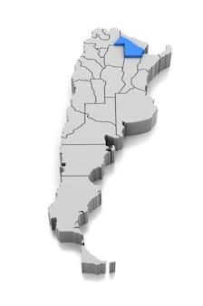 Kaart van chaco provincie, argentinië
