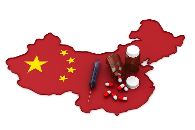Kaart van china op wit