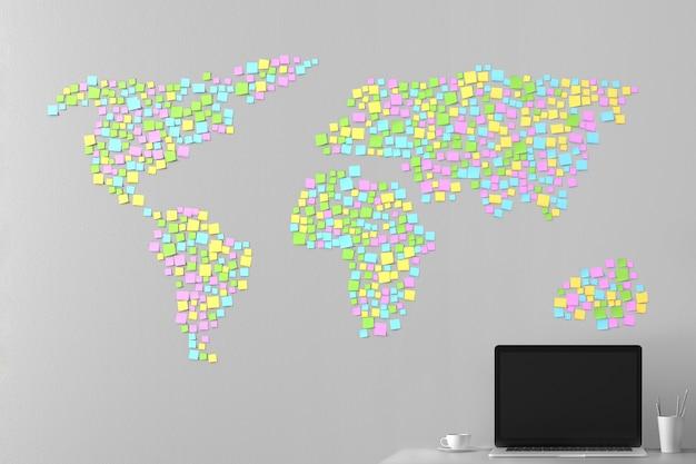 Kaart van de wereld van de stickers geplakt op de muur